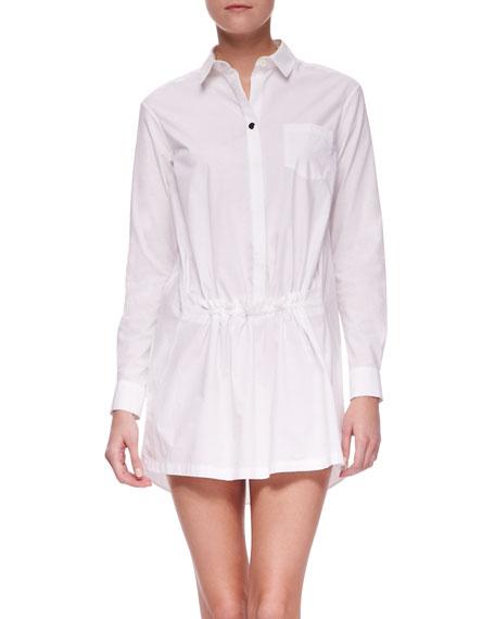 Long Sleeve Gathered Front Shirt Dress, White