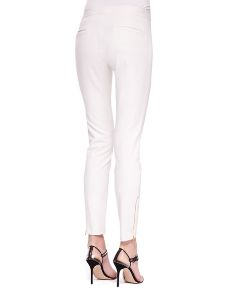 Skinny Zipper Trousers, White