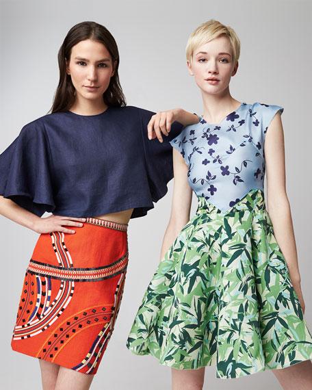 Elle Sasson Holly Colorblock Botanical Cap-Sleeve Dress, Multicolor