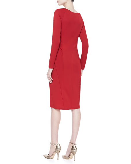 Jersey V-Neck Dress, Lipstick Red