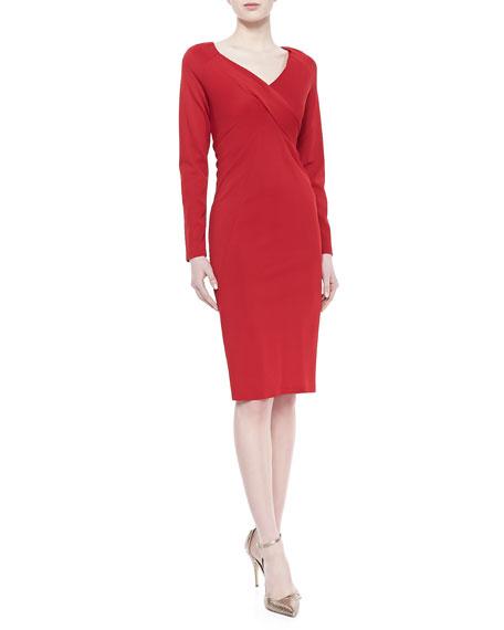 Jersey V-Neck Dress, Lipstick Red