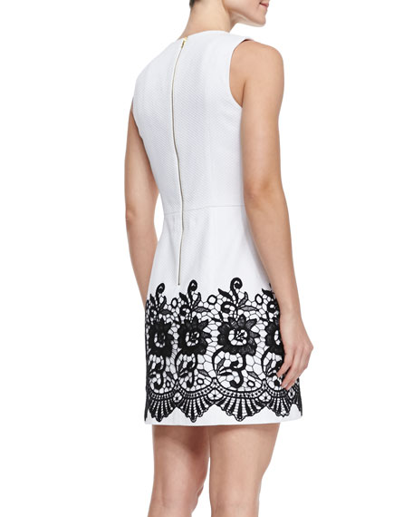 Sleeveless V-Neck Pique & Lace Dress