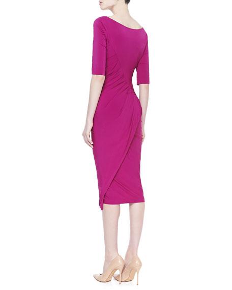 Half-Sleeve Draped Jersey Dress, Magnesium