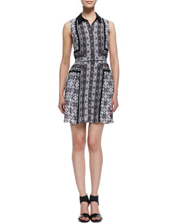 Ali Ro Sleeveless Printed Georgette Shirtdress