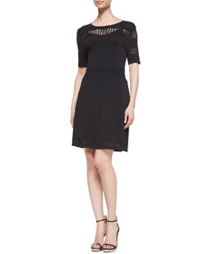 Ali Ro Fit And Flare Scoop Neck Knit Dress