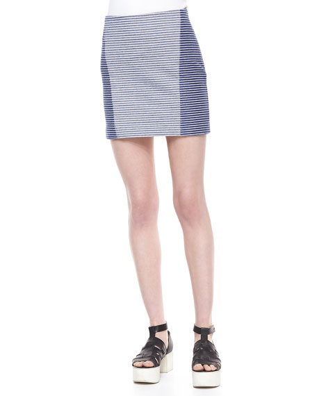 Two-Tone Striped Pencil Skirt