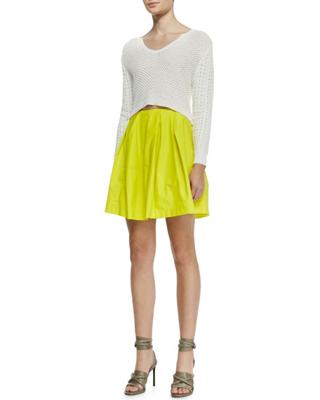 Pleated Neon Tulle Skirt