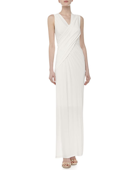 Donna Karan Cold Shoulder Draped Gown, Ivory