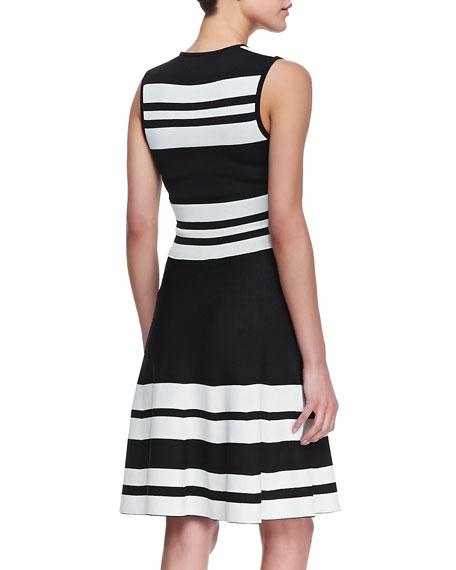 Sleeveless Bold Stripe Dress, Black/White