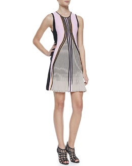 Ohne Titel Suspension Striped Flared Knit Dress