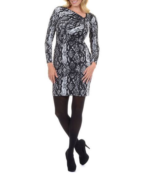 Long-Sleeve Animal-Print Mesh Dress, Women's