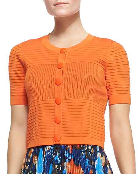 Short-Sleeve Pointelle Cropped Cardigan