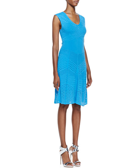 Chevron-Pointelle Knit Sleeveless Dress