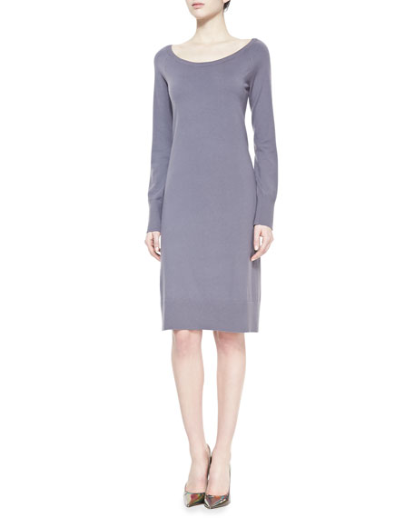 Long-Sleeve Wide-Neck Dress, Geode Gray