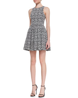 Tibi Leopard-Print Fit-&-Flare Knit Dress