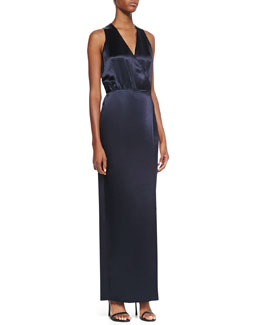Tibi Sleeveless Faux-Wrap Dress, Navy