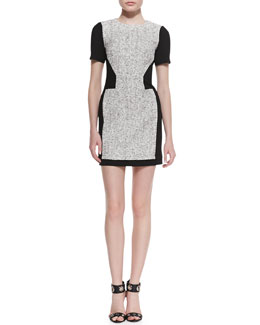 Tibi Tweed Short-Sleeve Dress