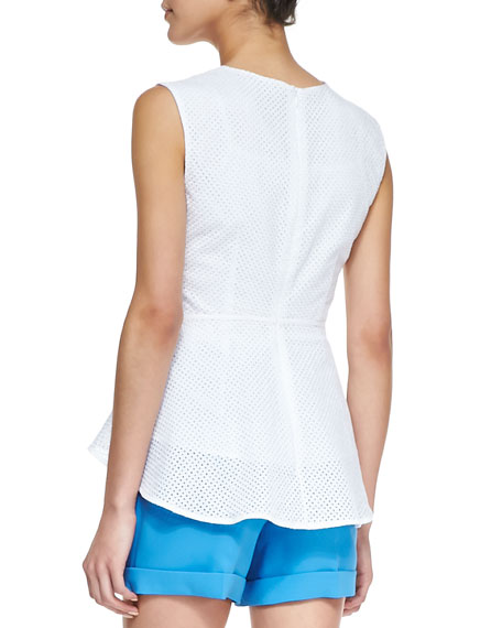 Corina Cotton Eyelet Peplum Top