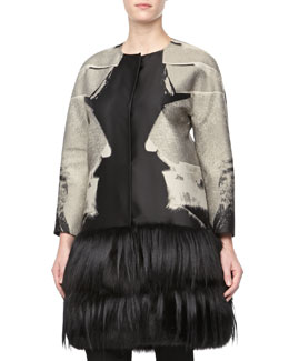 Carolina Herrera Fur Jacquard Snap Coat
