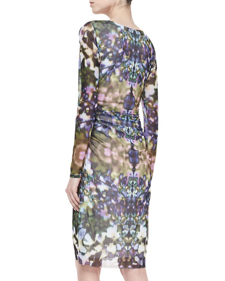 Floral-Print Boat-Neck Ruched Dress