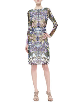 Kay Unger New York Floral-Print Boat-Neck Ruched Dress