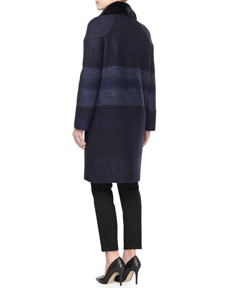 Tweed Mink Fur-Collar Coat