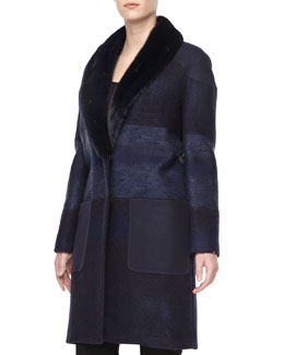 Carolina Herrera Tweed Mink Fur-Collar Coat