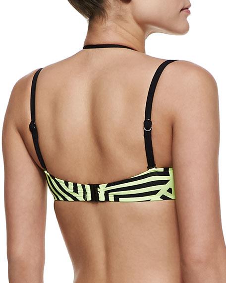 Pop Striped Bandeau Swim Top, DD Cup