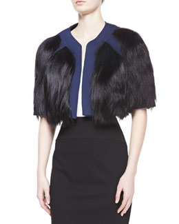 Carolina Herrera Goat Fur Cropped Jacket, Indigo