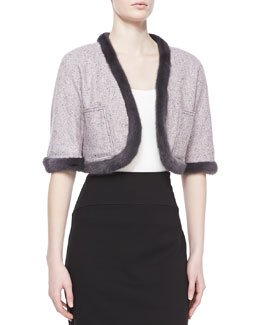 Carolina Herrera Mink Fur-Trim Tweed Jacket