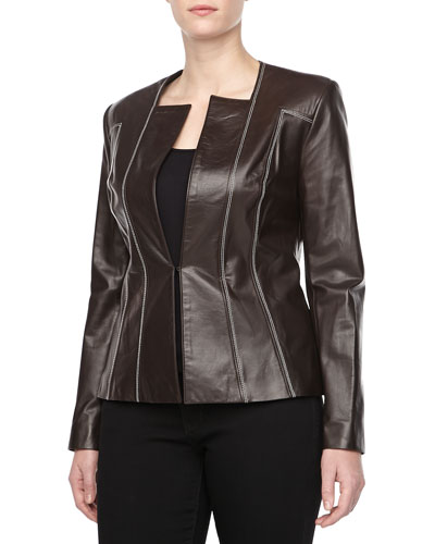 Carolina Herrera Leather Jacket with Contrast Stitching