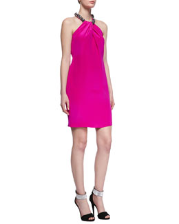 Carmen Marc Valvo Beaded Halter Silk Cocktail Dress