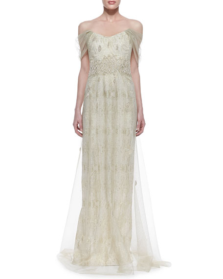 Off-Shoulder Chiffon Overlay Gown, Ivory/Gold