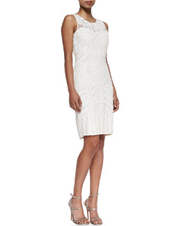 Rachel Gilbert Beaded Silk Cocktail Dress