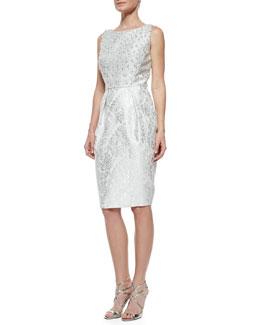 Carmen Marc Valvo Beaded Bodice Jacquard Cocktail Dress