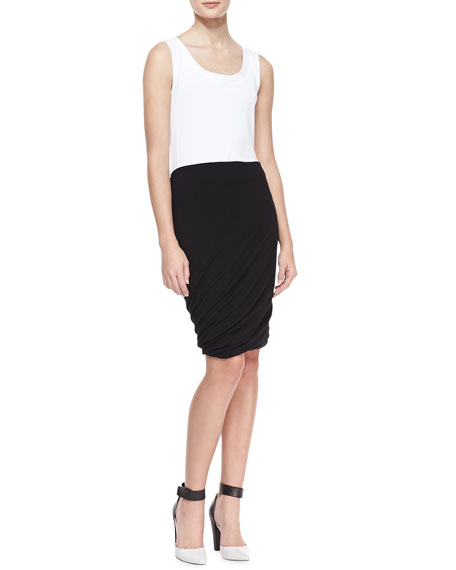 Double Layer Twisted Draped Skirt, Black