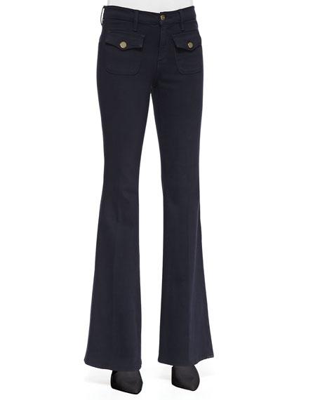 Le High Flare Flap-Pocket Jeans, Deep Blue