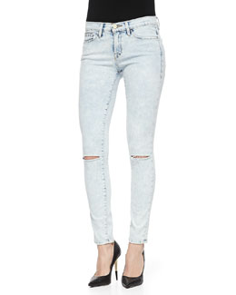 Frame Denim Le Skinny De Jeanne Light Distressed Jeans, Silverlake