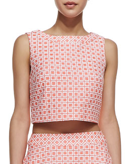 Trina Turk Priscilla Checkered-Print Cropped Top