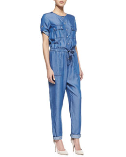 Trina Turk Clovis Short-Sleeve Chambray Jumpsuit
