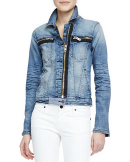 RtA Denim Faded Denim Zip-Detail Jacket