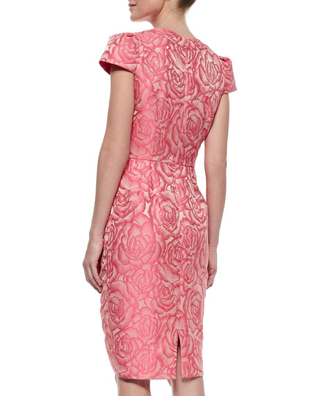 Floral Jacquard Sheath Cocktail Dress