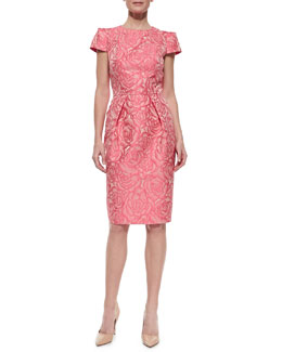 Carmen Marc Valvo Floral Jacquard Sheath Cocktail Dress