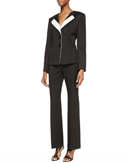 Albert Nipon Two-Piece Colorblock Pantsuit, Onyx/Ivory