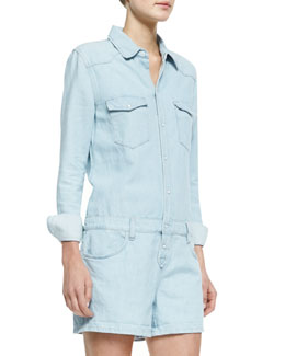 Joe's Jeans Venice Denim Shirtall Jumpsuit, Light Blue