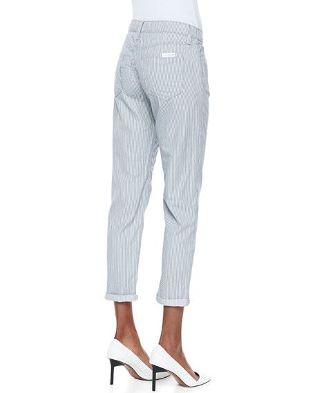 Weekender Striped Slim-Leg Pants