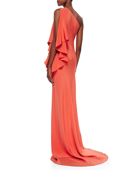 Draped One-Shoulder Jersey Gown