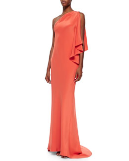 Carmen Marc Valvo Draped One-Shoulder Jersey Gown