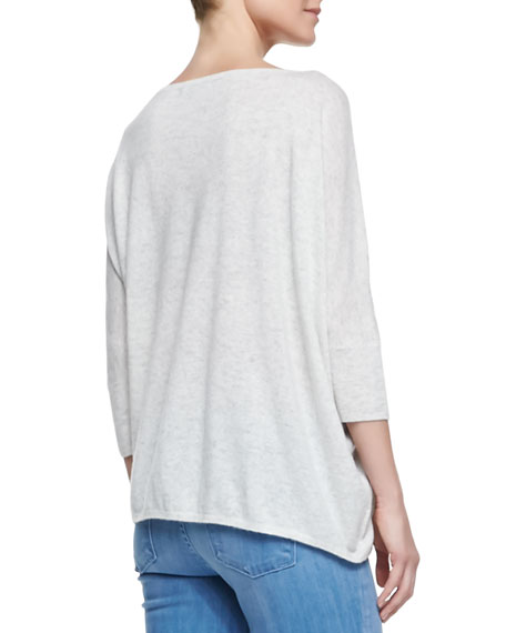 Boat-Neck Knit Pullover, Heather Cloud