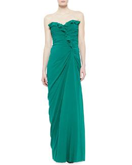Badgley Mischka Strapless Ruffle Top Gown, Emerald